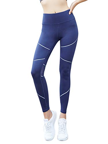 L.Z.H Hosen High Rise Mesh Frauen Yoga Leggings 4 Wege Stretch Yoga Hosen Leggings (Color : Blau, Size : S) Bamboo Capri Hose
