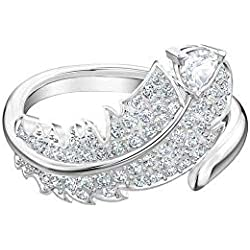 Bague Swarovski motif Nice, cristal blanc, métal rhodié, pour femme