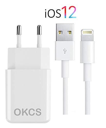 OKCS Ladegerät - USB Ladekabel 2M + 2A Netzteil kompatibel für iPhone XS, XR, XR Max, X, 8, 8 Plus, 7, 7 Plus etc. - Farbe Weiß