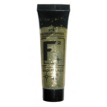 Maquillage Fardel tube gel paillettes dorées 30 grammes couleur paillettes dorées