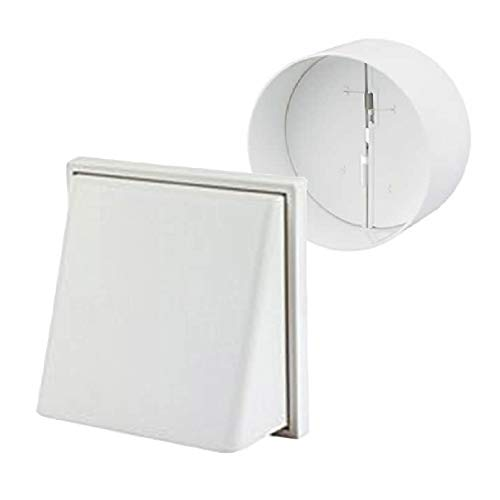 Back Cowl (White Hooded Cowl Extractor Air Vent & Back Draught Ducting Shutter 4 Inch by SmartHome)