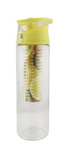 Emartbuy Obst Infuser Kunststoff Wasser Trinkflasche Mit Extra-Langem Infuser Für Maximales Flavour 700ml Auslaufsicher BPA-Frei Flip Top Cap Sportflasche - Klar / Gelb (Klar Infuser Trinkflasche)