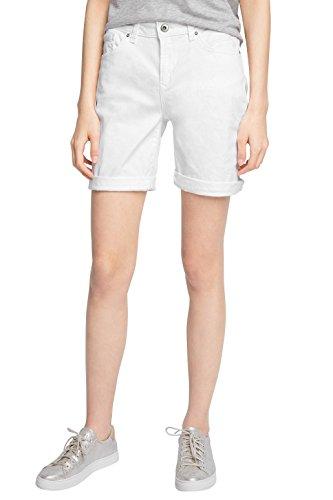 edc by ESPRIT Damen Bermuda 046CC1C015-Im 5 Pocket Stil, Weiß (White 100), 42