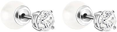 Swarovski–Pendientes de mujer Attract Pearl rodio cristal transparente–5183618