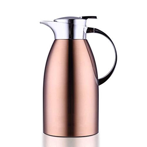 WLHW Trinkflaschen 2L Vakuum Krug, 304 Edelstahl Doppelwand Vakuumisolierte Kaffeekanne Kaffee Kolben Saft Milch Tee Isolierung 68Oz (Farbe : Champagner)