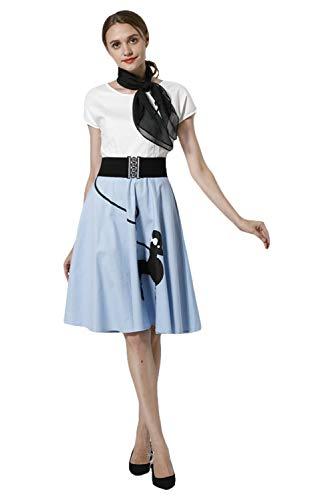 (Karnestore Vintage Rockabilly Kleid Kurzarm Retro Komplett Kostüm Blau)