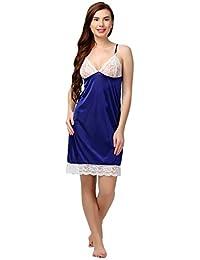 Miavii Women Royal Blue Satin Babydoll Nightdress/Nighty