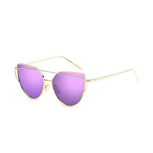 Eye-nak® Mode Katzenaugen Cat eye Sonnenbrille Für Damen UV400 Metall Rand Rahmen verspiegelte Linsen (C9 Rahmen Gold/Glas Lila)