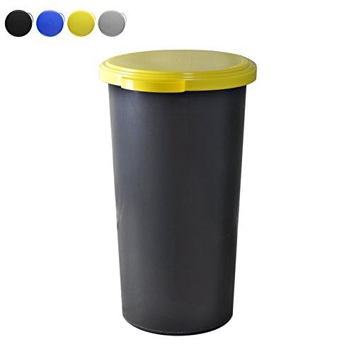 *KUEFA 60L Müllsackständer mit flachem Deckel – Gelber Sack Mülleimer (Gelb)*