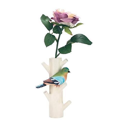 Cmxdz Crochet animal créatif rétro manteau cadre clé oiseau oiseau mur pratique décoration porche stockage tenture (Color : Green bird)