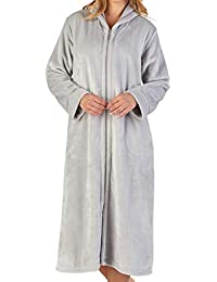 Slenderella Ladies Zip Up Collar Dressing Gown Luxury Thick Flannel Fleece  Bath Robe (Small - 2406a0e00