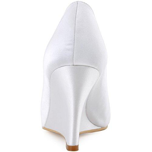 ElegantPark EP2009 Escarpins Femme Compense Satin Bout ouvert Chaussures de mariee mariage bal Blanc