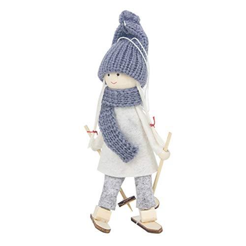 BESTOYARD Weihnachtspuppe Ornamente mit Ski Puppe Weihnachtsbaum Hängende Dekorationen Urlaub Party Supplies Ornamente Tischdekoration (Weiße Kleidung und Grauer Hut) -