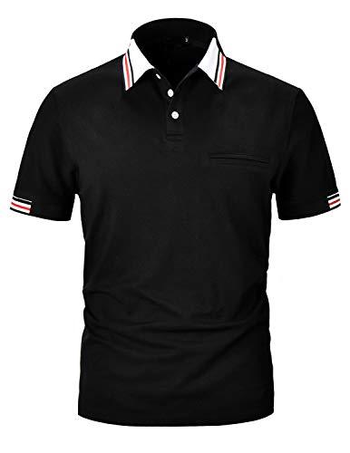Pipihu polo uomo t-shirt basic manica corta camicia tennis golf shirt nero xx-large