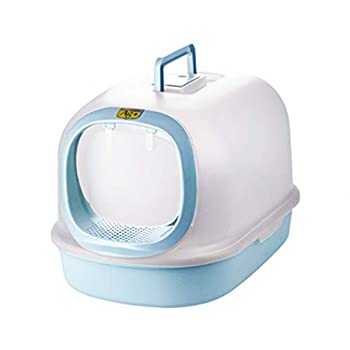 Wcx Rotin Toilette Chatdésodorisant Extra-Large Entièrement Confiné  Flip Couverture  Toilette Chats Une Seule Couche Bassin De Sable De Chat (Couleur : Bleu, Taille : 56x37x39cm)