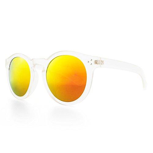 DISTRESSED VTG Geek Retro Sonnenbrille 70er Jahre Sonnenbrille Kult durchsichtig-gold-rot-verspiegelt
