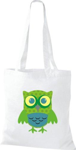 Stoffbeutel Bunte Eule niedliche Tragetasche mit Punkte Owl Retro diverse Farbe weiss
