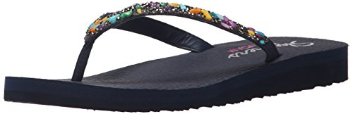 Skechers Damen Meditation Break Water Zehentrenner, Blau-Blau (Marineblau), 39 EU