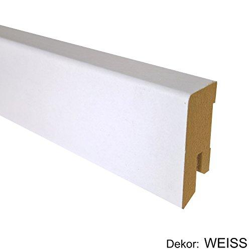 25 m TRECOR® Sockelleiste Weiß 40 mm Hoch   CUBE Form 16 x 40 mm ✓Kabelkanal ✓weisse Oberfläche   MDF Trägermaterial   Länge 2.5m   Bodenleiste für Laminat   Abschlussleiste CUBE Profil rechteckige Form für Parkett   CUBE Fußleiste für Teppichboden