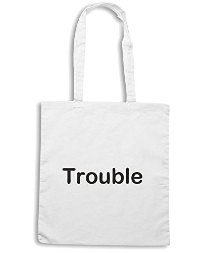 T-Shirtshock - Borsa Shopping TDM00286 trouble Bianco