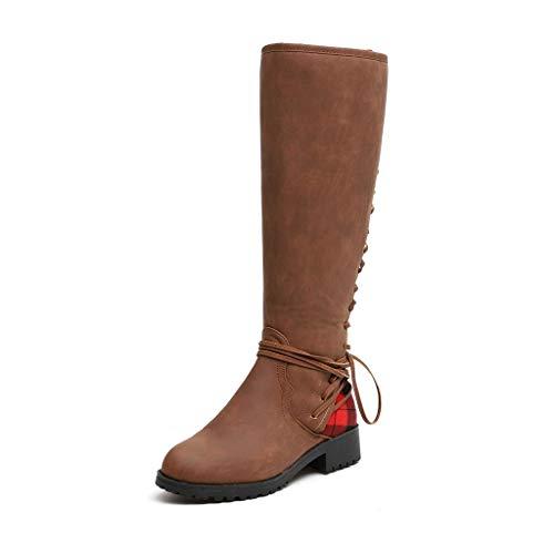 Watopi Damen Stiefel Schnürstiefel Mode Leopard Kreuz Krawatte Over Knee Stiefel Reißverschluss Lange Stiefel Booties Freizeitschuhe