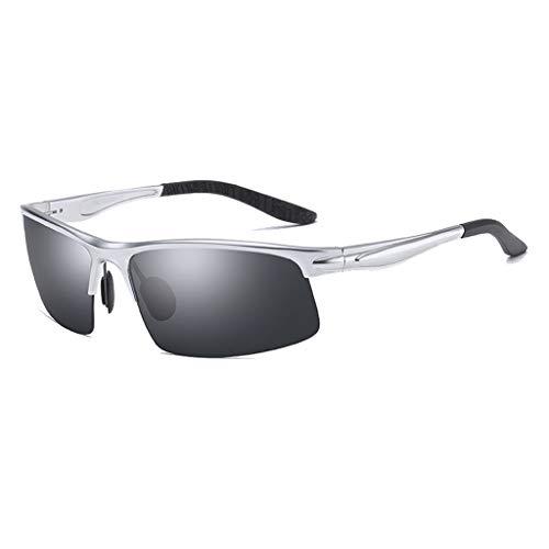 Herren sonnenbrillen Polarisierte uv400 sport sonnenbrille sport polarisierte sonnenbrille anti-fog ideal zum fahren oder sportliche aktivitäten superleichte rahmenkonstruktion ( Color : Silver )
