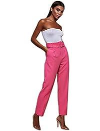 b5306db4452c60 TOOGOO Pantaloni Casual A Vita Alta Donna Pantaloni Con Cintura Dritti  Pantaloni A Sigaretta Pantaloni Ufficio