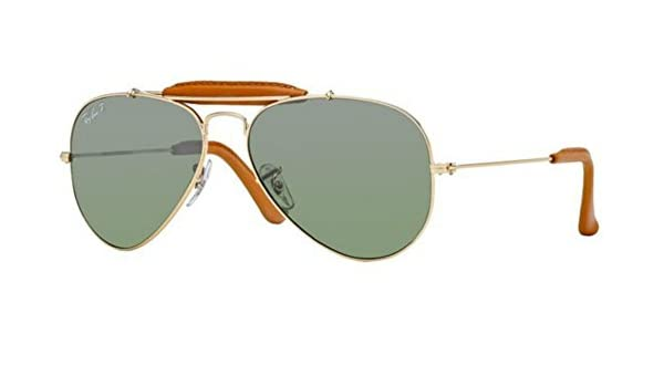 Ray Ban Lunettes de soleil RB3422Q Craft Outdoorsman Leather Gold   Red  leather   Pink, silver gradient mirror, 55mm, 001 51  Gold   Brown leather,  ... 625ab6504eae