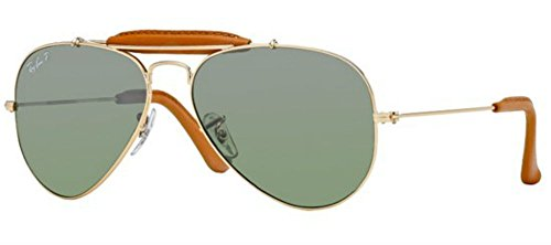 Ray Ban Rb3422q Craft Outdoorsman Leather Gold / Light Brown Leather / Brown Polarized Metallgestell Sonnenbrillen, 58mm - Sonnenbrille Outdoorsman Ray-ban