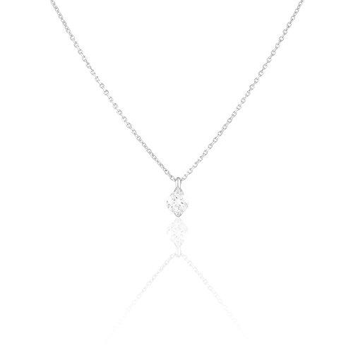 HISTOIRE D'OR - Collier Or Blanc et Diamant 42cm - Femme - Or blanc 375/1000