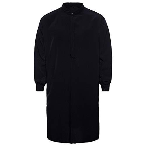 Makefortune Herren Thobe mit Langen Ärmeln Arab Muslim Wear Kleider mit großem Kragen/Loose Fit/Solid Color Weiß Rot Navy Schwarz -