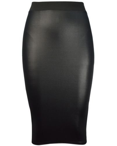 Fast Fashion Damen Röcke Wetlook Kunstleder Bodycon / Ausgestellte (SM = EUR (36-38), Bleistiftröcke) (Pencil-skirt Schwarze Lange)