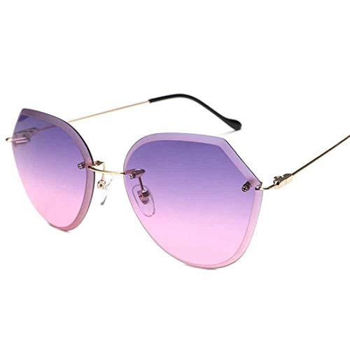 Hjyi Persönlichkeit Borderless Edge Cutting Retro Sonnenbrillen für Damen Polarisierte Aluminium Legierung Rahmen Sonnenbrille Mode Fahren Sonnenbrillen UV400