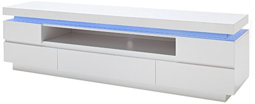 Robas Lund Ocean Meuble TV avec Niche Ouverte/5 Tiroirs MDF laqué Brillant, Blanc, 40 x 175 x 49 cm