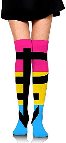 BEFFW Knee High Socks Pansexual Pride Flag with P Women's Work Athletic Over Thigh High Long Stockings (Orange Sock Monkey)