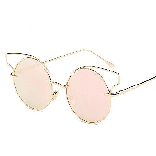 JUNHONGZHANG Sonnenbrille Mode Sonnenbrille Metallische Gläser Framing Damen Gläser, Gold Frame Pulver
