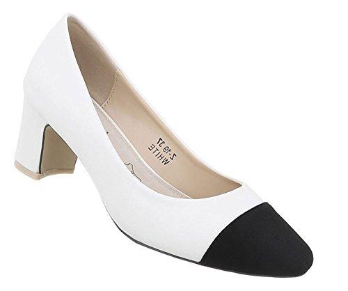 Damen Schuhe Pumps Klassische Weiß Schwarz 37