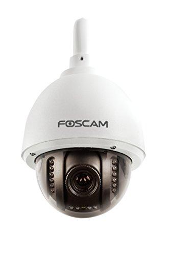 Foscam FI9828P V2 (con microSD 32 GB preinstallata) – Telecamera IP Wi-Fi HD da esterno, motorizzata PTZ con zoom ottico 3x e Autofocus, Visione notturna 20m, Micro-SD 32 GB, ONVIF, P2P Plug & Play