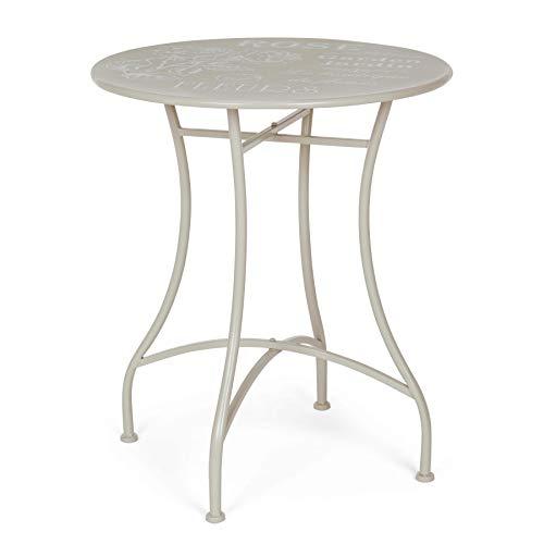 ARREDinITALY Table bistrot Ronde de 60 cm en métal avec Plateau décoré