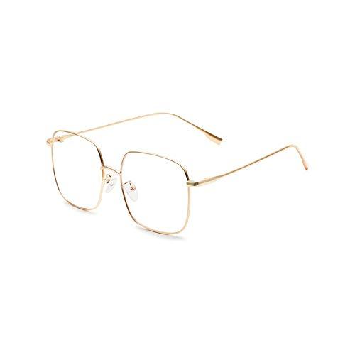 QDE Sonnenbrillen Damenbrille Optisch Metall Große Brille Brille Klare Brillengläser Silber Gold Quadratische Brille Männer, Gold