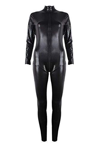 ZHANGSL Lackleder-Jumpsuit mit Fischschuppen für Damen, All-Inclusive-Latex-Onesies mit Reißverschluss vorne, Partykleidung für Nachtclubs,Schwarz
