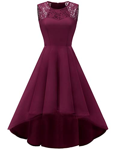HomRain Damen 1950er Vintage Retro Rockabilly Cocktail Spitzenkleid Party Abendkleider Burgundy XL