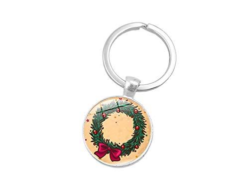 Qiuqiu Home Zeit Gem Keychain Handtasche Geldbörse Pendent Keychain für Weihnachten (Bunter Kranz)