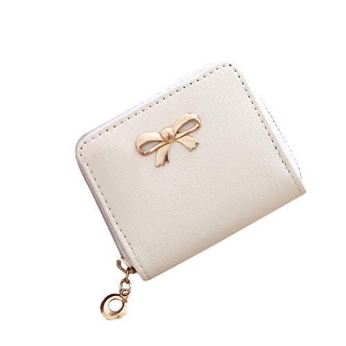 SoonerQuicker Damen Geldbörsen Mode Single Pull Solid Zipper Bow Kleine quadratische Tasche Münztüte (Weiß) (Bow Damen-geldbörse)