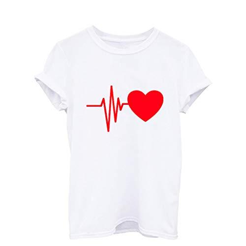 Agent Service Secret Kostüm - Sulifor ModischDamenShirt Loses Kurzarm-T-Shirt mit Herzdruck für Damen Lässiges O-Neck-Top Bluse Oberteil