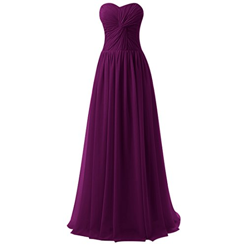 Find Dress Femme Sexy Robe de Soirée/Cocktail/Cérémonie avec Plis Robe Formelle Bustier Lacet Longue en Mousseline de Soie Raisin