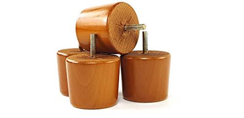 Möbelfüße aus Holz Eiche golden Ersatz Beine für Sofas, Stühle, Sofas, 60mm hoch-Set von 4-M8(8mm)-shn223 -