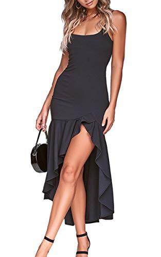 Angashion Damen Sexy Kleid Spaghettiträger Unregelmäßig Rüschen Cocktailkleid Elegante Rückenfrei Partykleid Schlitz Abendkleid Schwarz S - Elegante Sexy Kleider
