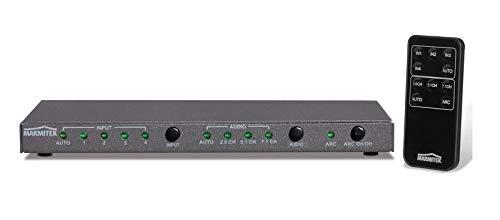 Marmitek Connect 621 UHD 2.0 - HDMI Switch - HDMI Schalter - 4 ein / 1 aus - HDMI 2.0 - 4K60 (4:4:4) - Ultra HD - 3840 x 2160 - HDCP 2.2 - Digitaler Audioausgang - automatisch schalten - HDCP 2.2