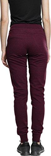 Urban Classics Ladies Athletic Melange Jogpants, Pantalon de Sport Femme Mehrfarbig (Burgundy/Black 619)